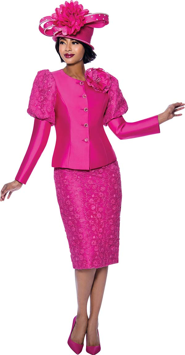 Terramina 7834 - Floral Textured Fabric Skirt Suit With Upper Puff Sleeve Jacket