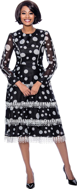 Terramina 7835 - Polka Dot Print Dress With Loop Fringe Trim Details