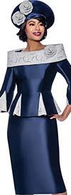 Terramina 7837 - Womens Church Skirt Suit With Godet Pleated Portrait Collar Jacket