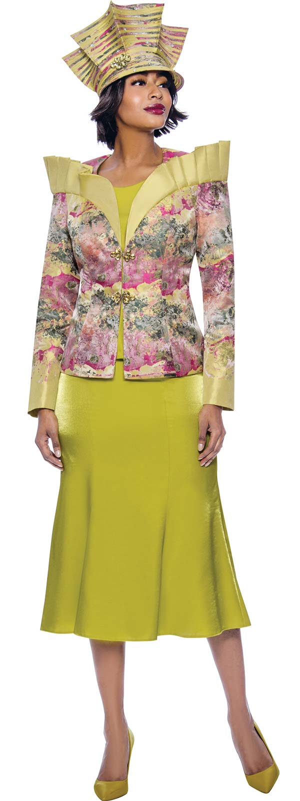 Terramina 7839 - Over Shoulder Stand-Up Ruffle Collar Multi Color Print Jacket With Solid Flared Skirt And Cami