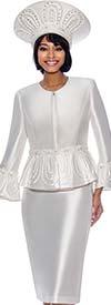 Terramina 7862-Ivory - Womens Three Piece Church Suit With Peplum Bell Cuff Sleeve Jacket