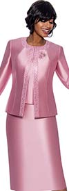 Terramina 7637-Pink - Womens Church Suit With Embellished Trim On Jacket