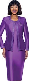 Terramina 7637-Purple - Church Suit With Embellished Trim On Jacket