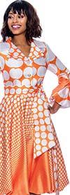 Terramina 7794-Orange Pleated Polka Dot Dress Decorated With Bows