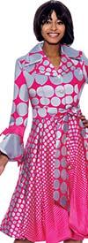 Terramina 7794-SilverFuchsia - Pleated Polka Dot Bell Cuff Sleeve Dress Decorated With Bows