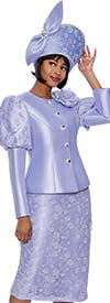 Terramina 7834-Lilac - Floral Textured Fabric Skirt Suit With Upper Puff Sleeve Jacket