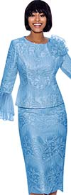 Terramina 7861-Blue - Womens Church Suit With Lace Accents And Layered Mesh Flounce Cuff Sleeves