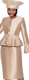 Terramina 7862-Champagne - Womens Three Piece Church Suit With Peplum Bell Cuff Sleeve Jacket