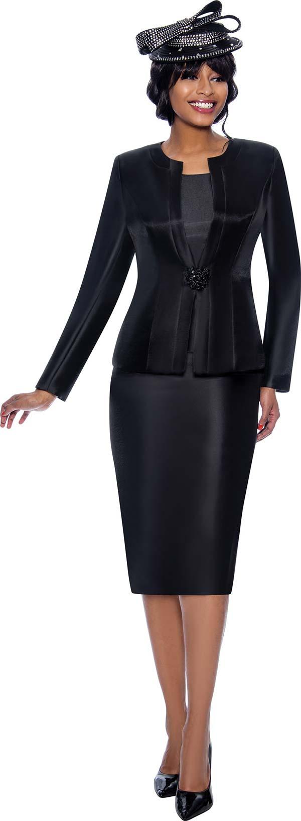 Terramina 7874-Black - Classic Style Womens Three Piece Church Suit With Rhinestone Clasp