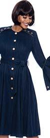 Terramina 7875 - Flounce Cuff Sleeve Denim Dress With Sash And Grommet Trim