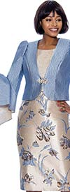 Terramina 7878 - Floral Brocade Style Dress With Split Flounce Sleeve Jacket