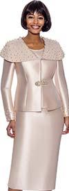 Terramina 7888-Champagne - Skirt Suit With Embellished Over-Shoulder Detail Jacket