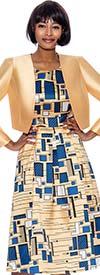 Terramina 7895 - A-line Dress In Geometric Print With Bolero Style Jacket