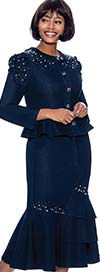Terramina 7896 - Womens Embellished Denim Skirt Suit With Peplum Jacket