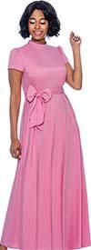 Terramina 7758-Pink - Long Dress With Band Collar And Short Sleeves Including Sash