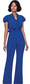 Terramina 7828 Womens Ruffle Trimmed Tiered Cap Sleeve Jumpsuit With Sash