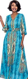 Terramina 7829-Blue - Womens Bold Print V- Neck Long (Maxi) Dress With Gathered Sleeve Cuffs