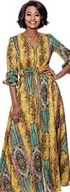 Terramina 7829-Yellow - Womens Bold Print V- Neck Long (Maxi) Dress With Gathered Sleeve Cuffs