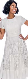 Terramina 7848-White - Womens Short Sleeve A-Line Dress With Lace Detail Design