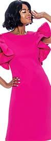 Terramina 7849 Ladies Dress Featuring Circular Ruffle Short Sleeve Design
