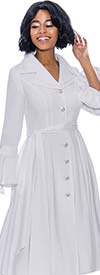 Terramina 7850-White - Womens Tied Flounce Cuff Sleeve Dress With Layered Notch Lapels And Sash