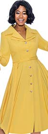 Terramina 7850-Yellow - Womens Tied Flounce Cuff Sleeve Dress With Layered Notch Lapels And Sash