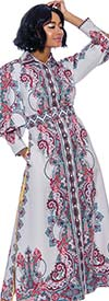 Terramina 7851 Womens Print Design Dress With Side Slit And Button Cuff Sleeves