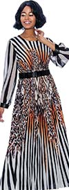 Terramina 7852 Womens Animal Print Striped Dress With Belted Waist And Banded Cuff Sleeves
