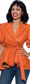 Terramina 1245 - Womens Puff Sleeve Peplum Jacket With Notch Lapels