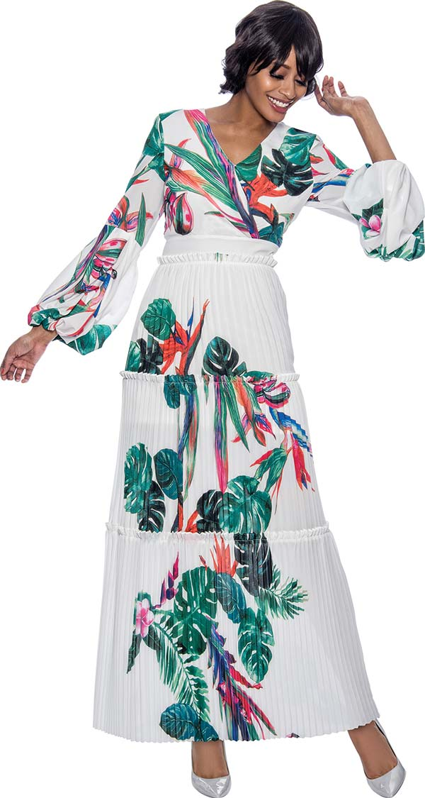 Terramina 7899 - Womens Accordion Pleated Floral Print Dress With Puff Sleeves