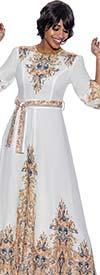 Terramina 7900 - Womens Maxi Print Dress With Puff Sleeves And Belt