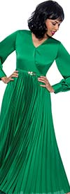 Terramina 7901-Green - V-Neck Womens Dress With Banded Sleeve Cuffs And Pleated Skirt