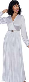 Terramina 7901-White - V-Neck Womens Dress With Banded Sleeve Cuffs And Pleated Skirt
