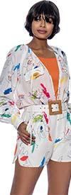 Terramina 7902 - Womens Multi Print One Piece Romper With Pockets