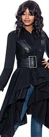Terramina 7904 - Womens Taffeta High-Low Jacket Top With Pleather Belt