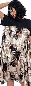 Terramina 7905 - Womens Short Sleeve Midi Dress In Scarf Print Design