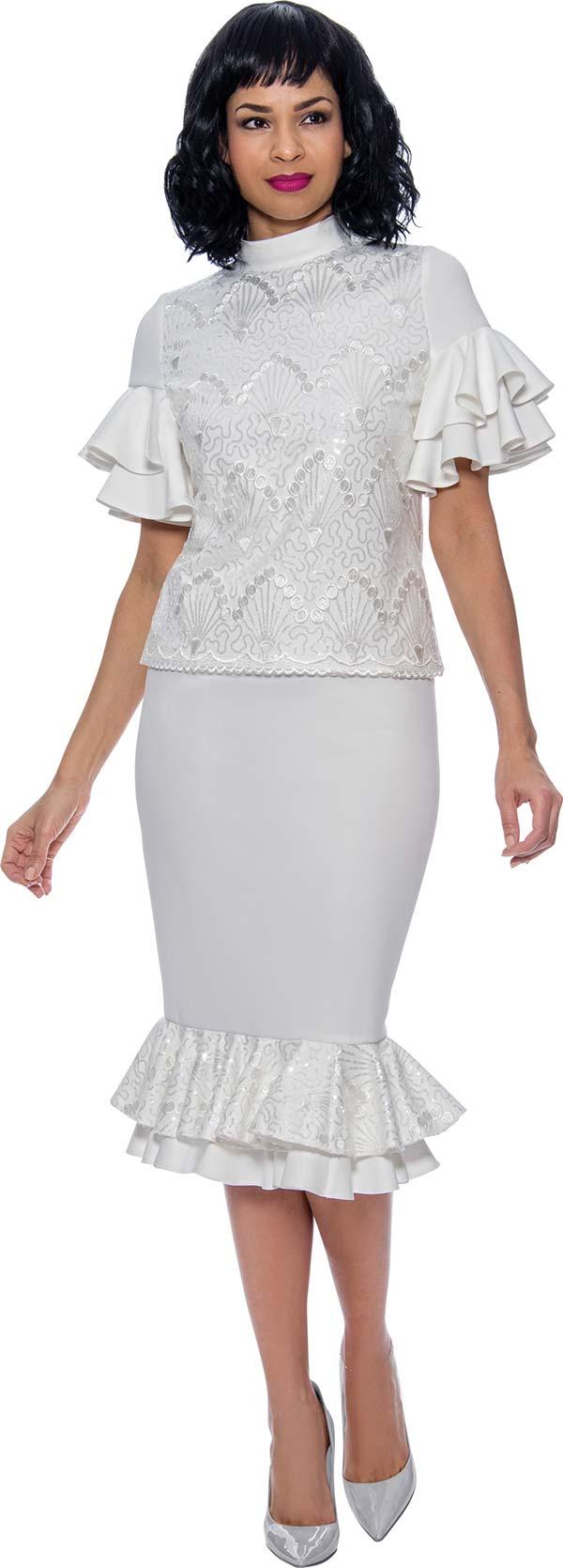 Terramina 7907 - Womens Double Flounce Skirt Set With Tiered Ruffle Sleeve Mock Neck Top