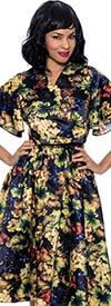 Terramina 7908 - Womens V-Neck Short Sleeve Two Piece Dress In Floral Print Design