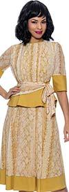 Terramina 7909 - Womens Peplum Waist Dress In Print Design With Solid Trims And Sash