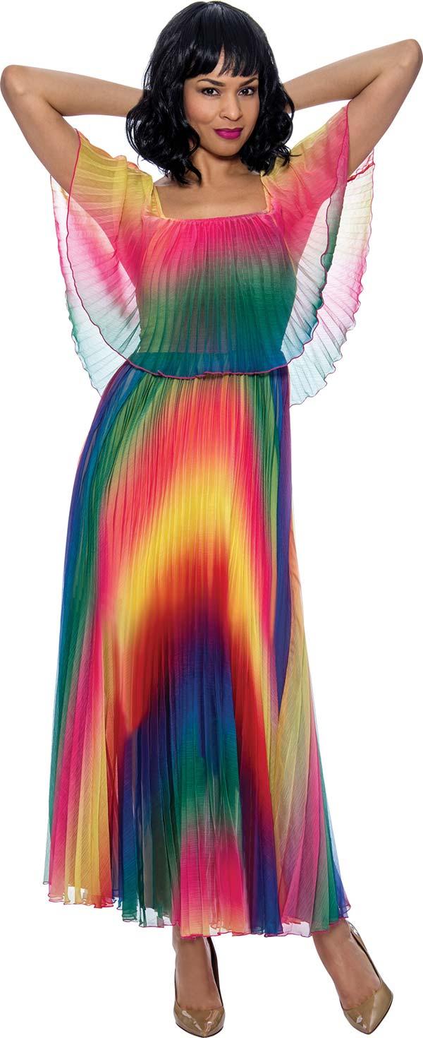 Terramina 7911 - Womens Accordion Pleated Capelet Style Maxi Dress In Rainbow Print Design