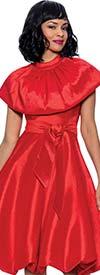 Terramina 7914 - Womens Capelet Style Balloon Dress With Sash
