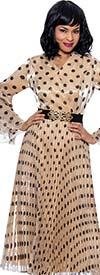 Terramina 7915 - Womens Pleated V-Neck Bell Flounce Sleeve Dress In Polka-Dot Print Design