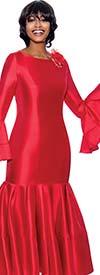 Terramina 7764-Red- Pleated Drop Waist Dress With Flounce Sleeves