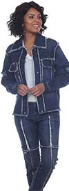 Tesoro Moda 20024R-20024R Womens Pant Suit With Distressed Edging In Stretch Denim Fabric