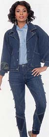 Tesoro Moda 20025-20025 Womens Pant Suit In Stretch Denim Fabric With Stitch Loop Details