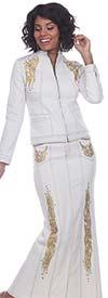 Tesoro Moda 20026-20026 Embellished Womens Long Stretch Denim Fabric Skirt Suit