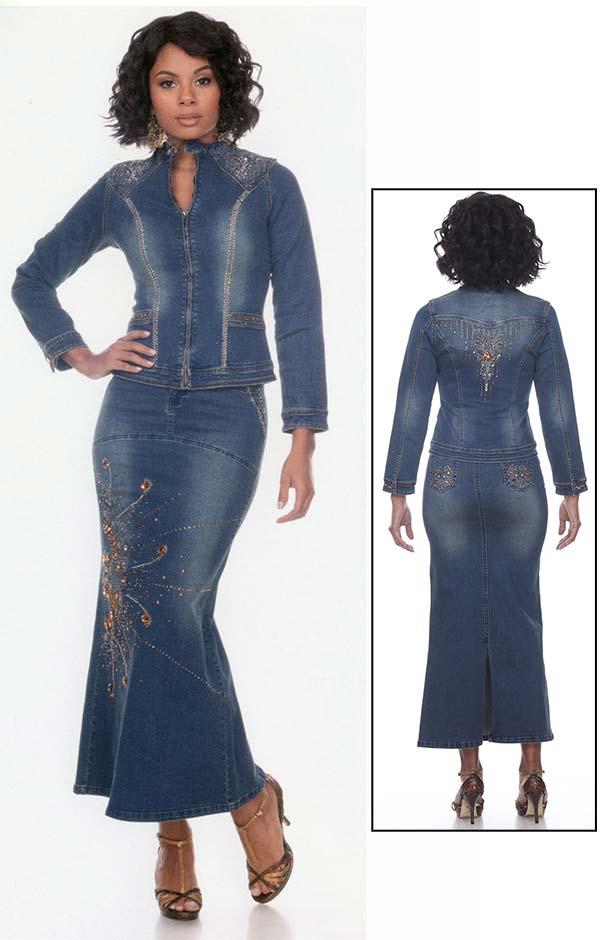 Tesoro Moda 20027-20027 Embellished Womens Long Skirt Suit In Stretch Denim Fabric