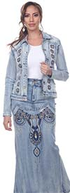 Tesoro Moda 20028-20028 Womens Embellished Long Skirt & Classic Jean Jacket In Stretch Denim Fabric