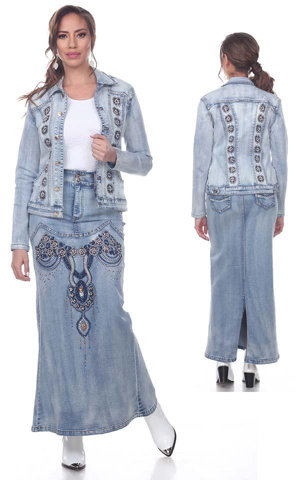 Tesoro Moda 20028-20028 Womens Embellished Long Skirt & Classic Jean Jacket In Stretch Denim Fabric