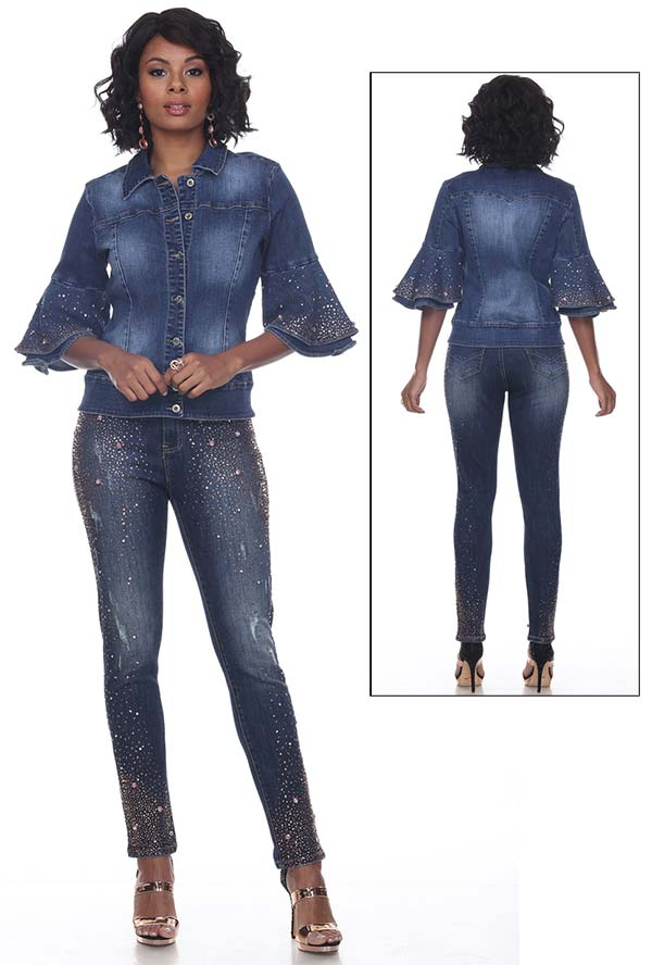 Tesoro Moda 20030-20030 Embellished Womens Pant Suit In Stretch Denim Fabric